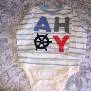 Baby Gap Long Sleeve Ahoy Baby Boy Bodysuit